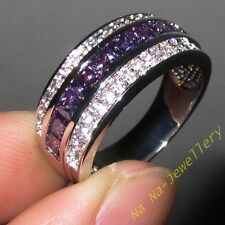 Size 8-12 Classic Mens Amethyst 10kt White Gold Filled Wedding Band Gem Ring