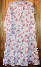 La Cera Long Nightgown All Cotton Lawn Pink/Red Rose Floral CHOOSE SIZE New NWT