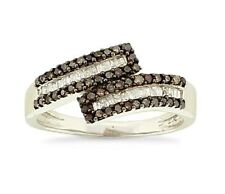 .925 Silver Chocolate Brown & White Round & Baguette Diamond Bypass Ring .48ct