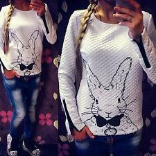 Women New Rabbit Print Knitted Sweater Jumper Tops Pullover Cardigan Knitwear