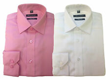 NEW QUALITY BELLISSIMO MENS LONG SLEEVE SHIRT WRINKLE FREE MODERN FIT PINK WHITE