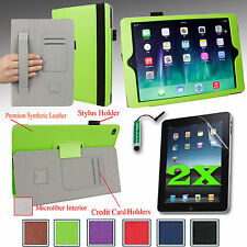 SMART PU Case Stand Cover w/ Hand Strap For Apple iPad Air 2nd +2 Films + Stylus