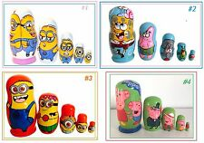 5 Ruso Nesting Matryoshka dolls/cartoons characters/suits Chicas Y Chicos