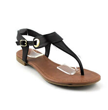 Black Leatherette Cutie Gladiator Shield T Strap Flats Sandals Shoes