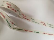 Herringbone Twill Tape Ribbon - 15 / 25mm - Multi language 'Merry Christmas'