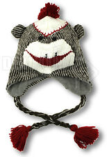 NWOT SOCK MONKEY Knit Beanie Winter Lined Cap Hat w/ Ear Flaps and Tassles