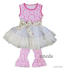 Girls Pink Damask Lace Ruffled Top Pants Easter Spring Summer Outfit Capri Set
