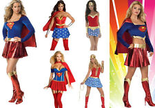 HOT Sexy Super hero Supergirl Wonder Hen Party Outfit Womens Fancy Dress Costume