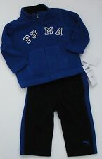 NWT Puma Infant Boys 2pc Blue Fleece Zip Jacket Pants Set 12m 18m 24m NEW $52 6a