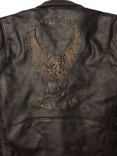 MENS BLACK LEATHER MOTORCYCLE BIKER JACKET LIVE TO RIDE RIDE TO LIVE EAGLE USA