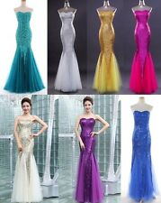 Women's Full Length Formal Prom Strapless Sexy Bride Dess Cocktail Bodycon