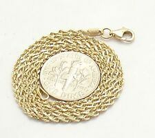 """1.5mm Diamond Cut Solid Rope Chain Necklace REAL 14K Yellow Gold 16"""" thru 24"""""""