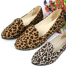 Fashion Women Leopard Suede Flats Loafers Shoes Casual Slip on Work Formal Shoes