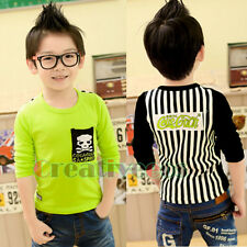 Fashion Kids Toddlers Boys Child Letters Skull Striped 100% Cotton Tops T-Shirt
