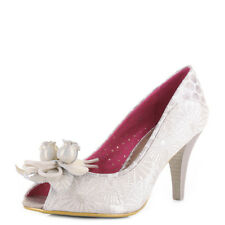Womens Poetic Licence Concha Beach Off White Peep Toe Court Shoes Heels Size