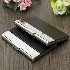 2Color Aluminum Metal Leather Business ID Credit Card Case Box Pocket Holder