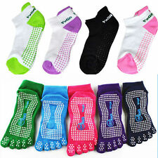 "Women's Rubber Gym 5-Toe Exercise ""Barefoot Feel"" Yoga Toe Socks Skid Resistance"