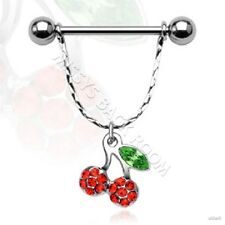 Nipple Shield 14g with Cherries Dangle Ring Surgical Steel Pair Single FREE SHIP