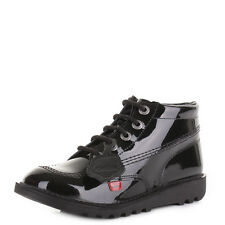 YOUTH GIRLS KICKERS KICK HI BLACK PATENT LEATHER ANKLE BOOTS SCHOOL SHOE SIZE