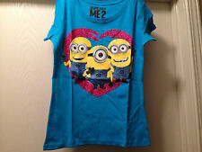 DESPICABLE ME 2 Blue Minion Valentines Day Girls Tee T Shirt Size 4-16 Brand New