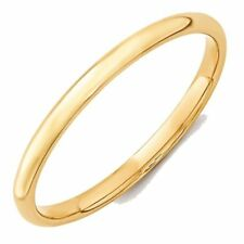 2mm 10K Yellow Gold Comfort Fit or Half Round Wedding Ring Band Size 5-13