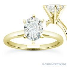 Oval Brilliant Cut Moissanite 14k Yellow Gold 6-Prong Solitaire Engagement Ring