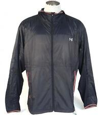 Under Armour Running All Season Gear Black Zip Front Hooded Wind Jacket Mens NWT