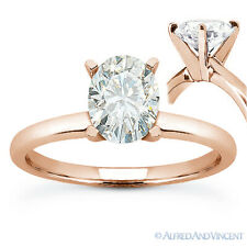 Oval Brilliant Cut Moissanite 4-Prong Solitaire Engagement Ring in 14k Rose Gold