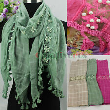 Embroidery Lace Floral Stitching Plaids Cotton Pearl Fringe Tassel Long Scarf