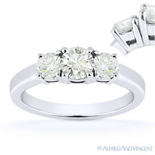 Round Cut Moissanite 14k White Gold 3 Three-Stone Basket Engagement Promise Ring