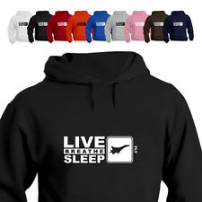 RAF Pilot Gift Hoodie Hooded Top Eat Live Breathe Sleep Fly