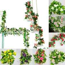 New Arches Decoration Artificial Fake Silk Rose Flower Ivy Vine Hanging Garland