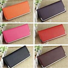 Solid Color Women Clutch PU Leather Purse Coin Card Holder Long Wallet Bag
