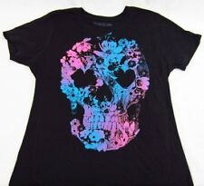 Womens NEW Spencers Flower Skull Black Short Sleeve Graphic Tee T-Shirt Sz S & M
