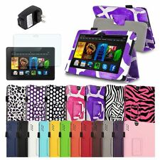 """Leather Case Stand Cover+Film+Wall Charger For Amazon Kindle Fire HDX 7 7"""""""