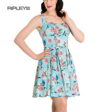 HELL BUNNY Mini Dress LACEY Birds/Roses Turquoise Blue All Sizes
