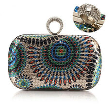 New Womens Sequin Rhinestone Knuckle Ring Clutch Handbag Chain Evening Bag Purse