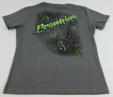 Womens NWT Browning Airbrush Buckmark Classic Tee T-Shirt Charcoal Gray Any Size