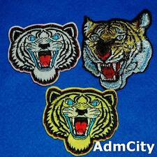 3 Panthera Tiger Growl Embroidered Iron on Sew Patch Biker Motorcycle Lots Badge