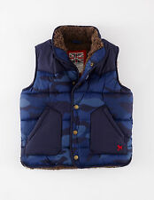 Mini Boden Boy's Brand New Gilet Blue Camouflage Print Padded Fleece Lined
