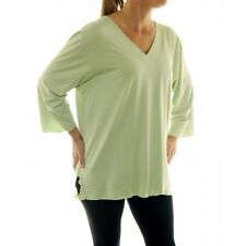 We Be Bop Plus Size JAMAICA Solid Green Rayon Stretch V Neck Tee