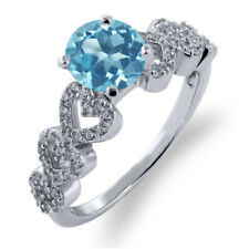 1.72 Ct Round Swiss Blue Topaz 925 Sterling Silver Ring