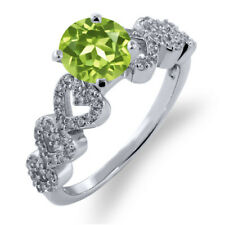 1.62 Ct Round Green Peridot 925 Sterling Silver Ring