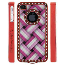 Gem Crystal Rhinestone Pink Basket Weave Case For Apple iPhone 4 4S 4G