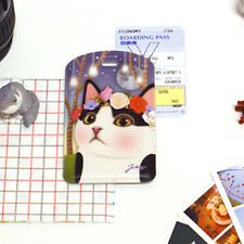 Cute Jetoy Kitty Name Tag ID Holder School Travel Office Luggage Clear Window