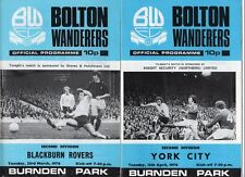 Bolton Wanderers HOME programmes 1975/76 choose from list FREE UK P&P