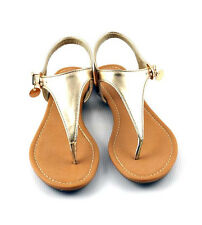 Light Gold Cutie Shield Shape T Strap Gladiator Inspired Flat Sandals