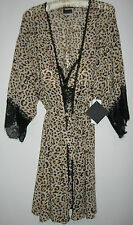 Sexy Leopard Lingerie Nightgown Gown Robe Thong Panty Womens L  Cinema Etoile