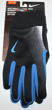Nike Men's Black/Blue Accents Thermal Tech Running Gloves size choices **