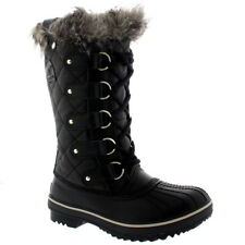 Womens Sorel Tofino Leather Snow Black Winter Fur Lace Up Mid Calf Boots UK 3-8